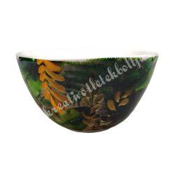 Kerámia műzlis vagy leveses tál, 14 cm, trópusi leveles