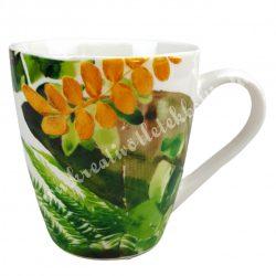 Kerámia csésze, 1,6 dl, trópusi leveles