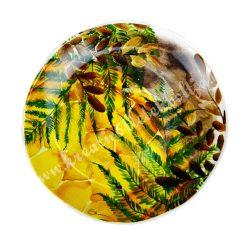 Kerámia lapos tányér, 19 cm, páfrány leveles