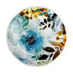 Kerámia lapos tányér, 19 cm, virágos
