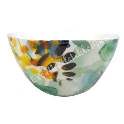 Kerámia műzlis vagy leveses tál, 14 cm, virágos