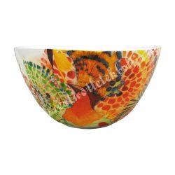 Kerámia műzlis vagy leveses tál, 14 cm, madaras