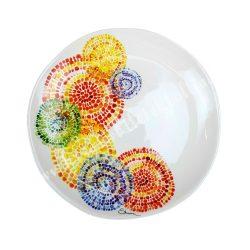Kerámia lapos tányér, 27 cm, mozaikos