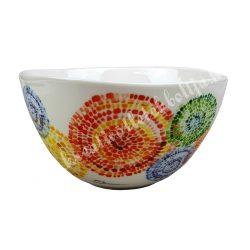 Kerámia műzlis vagy leveses tál, 14 cm, mozaikos