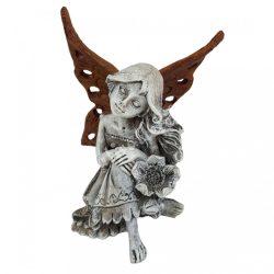Polyresin angyal, barna szárnnyal, 8,5x11,5 cm