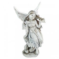 Polyresin angyal, fehér szárnnyal, 8x15 cm