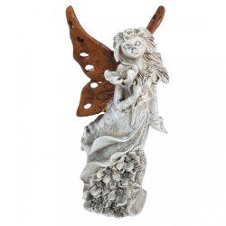 Polyresin angyal, barna szárnnyal, 7x13,5 cm