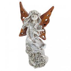 Polyresin angyal, barna szárnnyal, 7,5x13,5 cm