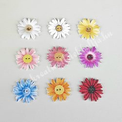 Virág alakú fagomb, 9 színben