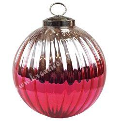 Karácsonyfadísz, üveggömb, ezüst-rózsaszín, 10 cm