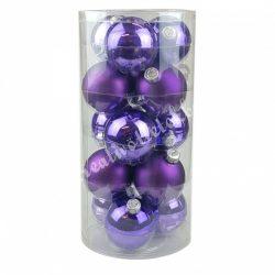 Karácsonyfadísz, üveggömb, viola lila, fényes/matt, 8 cm, 15 db/doboz