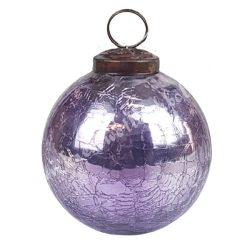 Karácsonyfadísz, roppantott üveggömb, halványlila, 7,5 cm