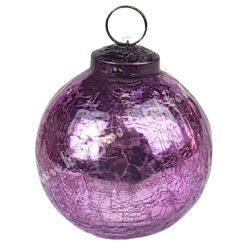 Karácsonyfadísz, roppantott üveggömb, sötét rózsaszín, 15 cm