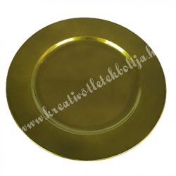 Műanyag dísztál, metál zöld, 20 cm