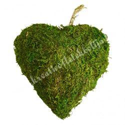 Akasztós dísz, mohás szív, 15 cm