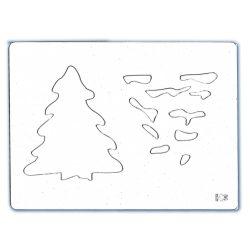 Stencil 155., Karácsonyfa, 14,5x19,5 cm