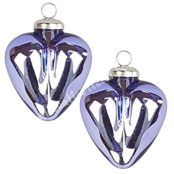 Akasztós üvegszív, levendula lila, 8,5 cm, 2 db/doboz
