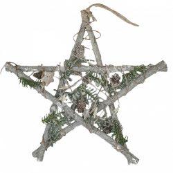 Akasztós dísz, vessző csillag, tobozzal, havas fenyőágakkal, 40 cm