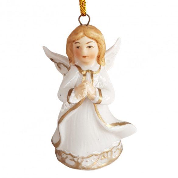 Akasztós porcelán angyal, imádkozó, 3,5x5,5 cm