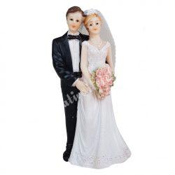 Esküvői pár, virágcsokorral, 7x15 cm
