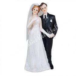 Esküvői pár, kézenfogva, 7x15 cm