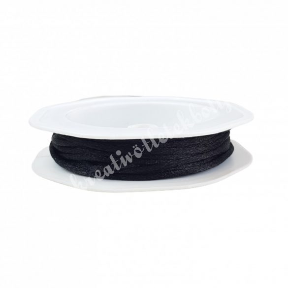 Szatén zsinór, fekete, 2 mm