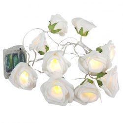 Ledes, fehér rózsás fényfüzér, 10 db virággal