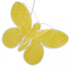 Akasztós textil pillangó, sárga, 40x28 cm