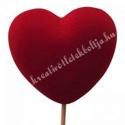 Betűzős flokkolt szív, piros, 7 cm