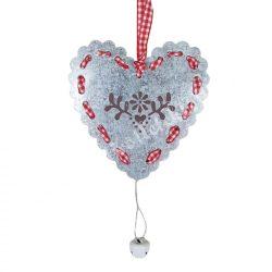 Akasztós fém szív, 10x16 cm