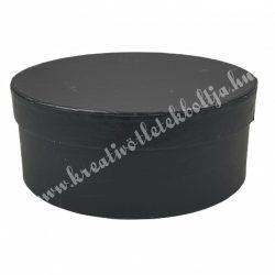 Kerek kalapdoboz, fekete, kicsi, 15 cm