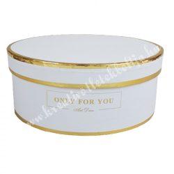 Kerek kalapdoboz, fehér, arany szegéllyel, kicsi, 15 cm