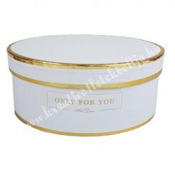 Kerek kalapdoboz, fehér, arany szegéllyel, közepes, 17 cm