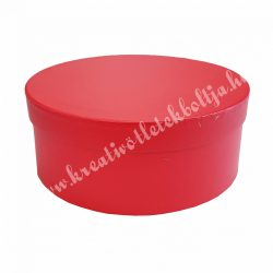 Kerek kalapdoboz, skarlátvörös, nagy, 20 cm