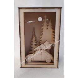 3D dekor doboz Autó karácsonyfával