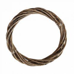 Vesszőkoszorú, szürke, 28 cm