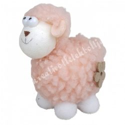 Bárány virág dísszel, rózsaszín, 7x8 cm