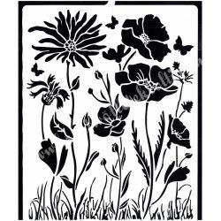 Stencil 249., Szalon - Pipacs és virág, 20x25 cm