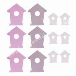 Fa házikó, fehér, rózsaszín, lila