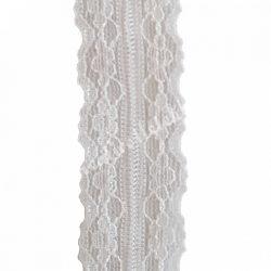 Szalag, csipkés 5., fehér, 25 mm