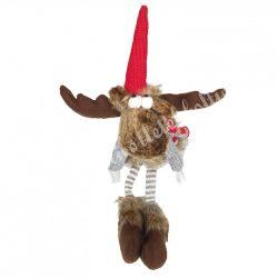 Lógó lábú rénszarvas, kockás pulóverben, 40 cm