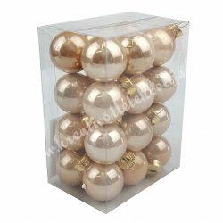 Karácsonyfadísz, üveggömb, pezsgő, fényes, 24 db/doboz