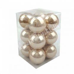 Üveggömb, pezsgő, fényes, 12 db/doboz