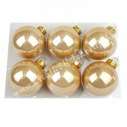Üveggömb, pezsgő, fényes, 6 cm, 6 db/doboz
