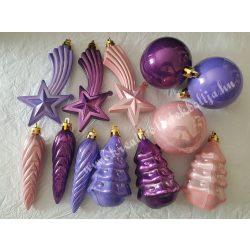 Karácsonyfadísz, vegyes minta, lila és rózsaszín, 12 darab
