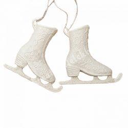 Akasztós korcsolya pár, csillámos fehér, 7x8 cm