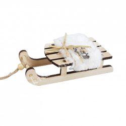 Szánkó műszőrrel, szarvasfejjel, fehér, 14,5x7,5 cm