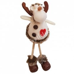 Lógó lábú textil szarvas szívvel, fehér, 20 cm
