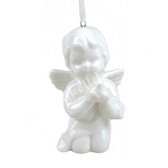 Akasztós porcelán angyal madárral, 5x8 cm