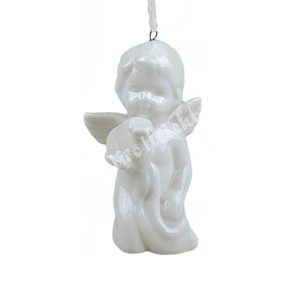 Akasztós porcelán angyal, puszit küldő, 5x8 cm